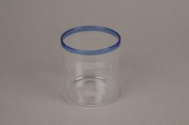 A002H9 Pot en verre liseré bleu D8cm H9cm