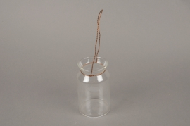 A002IH Glass vase jar with metal handle D6.5cm H12.5cm