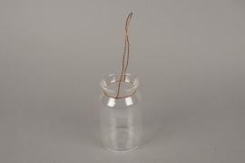 A002IH Vase bocal en verre avec anse en métal D6.5cm H12.5cm