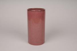 A002J6 Vase en céramique rouge D11.5cm H23cm