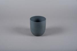 A002JY Cache-pot en métal gris D11.5cm H12cm