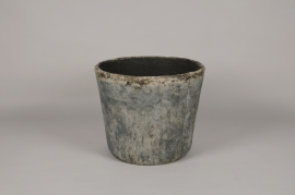 A002K5 Pot en résine vieilli bleu D36.5cm H31cm