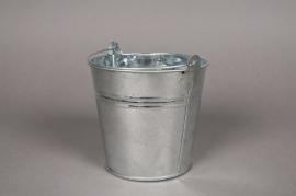 A002KM Seau en zinc naturel  D11cm H10cm