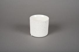 A002N8 Cache-pot en terre cuite blanc D9cm H8.5cm