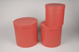 A002O1 Set de 3 boîtes en carton rouge D28cm H28cm