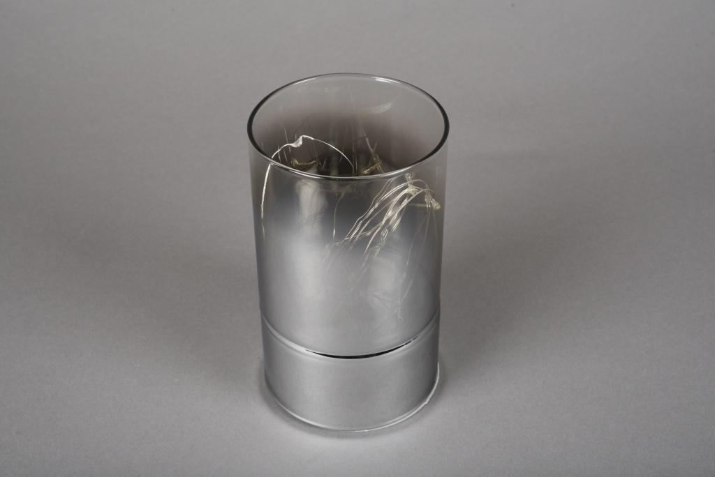 A002O7 Cylindre en verre fumé led D9cm H15cm