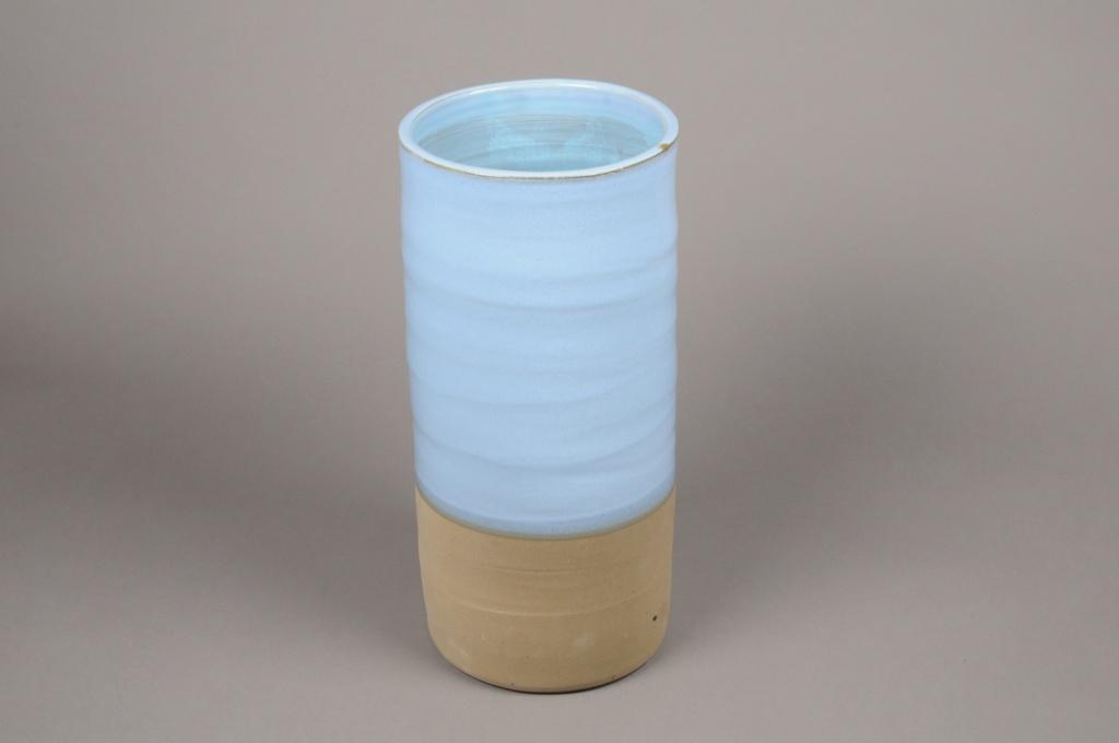A002Q0 Vase en céramique bleu D19cm H40cm