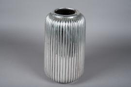 A002QL Vase en céramique argent D22cm H40cm