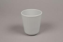 A002T3 Cache-pot en céramique gris D10cm H11.5cm