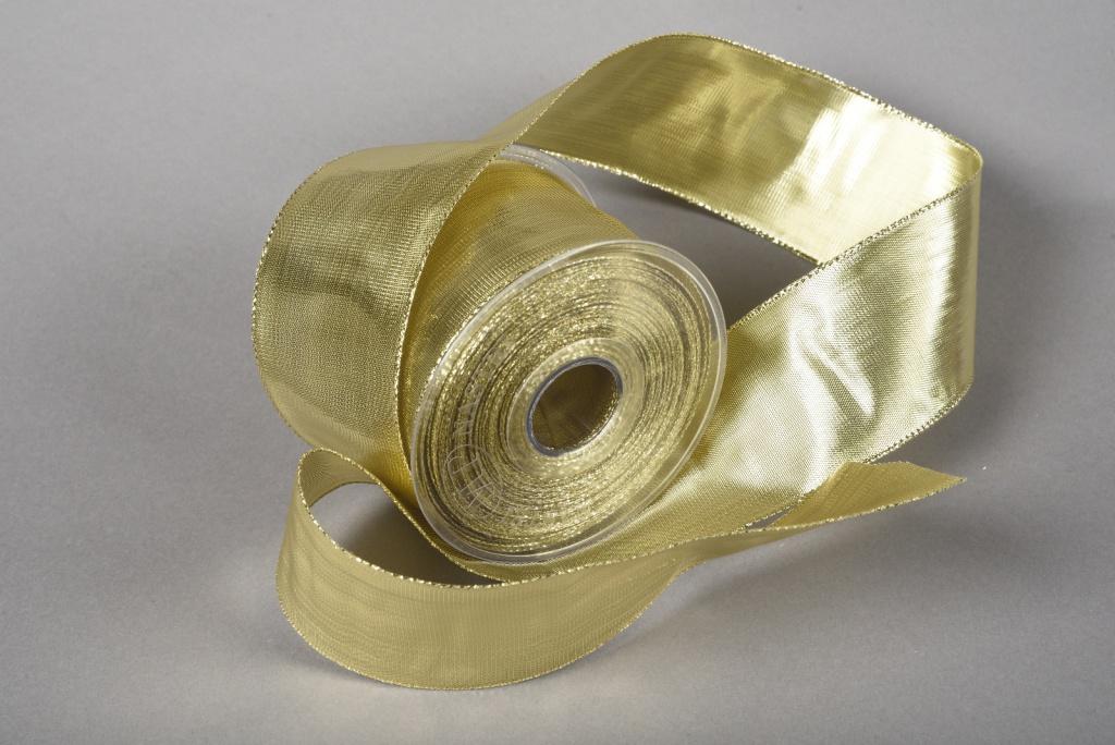 A002UN Gold satin ribbon 63mm x 20m
