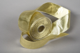 A002UN Gold satin ribbon 63mm x 20m
