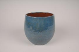 A002XD Cache-pot en céramique bleu D19.5cm H18cm