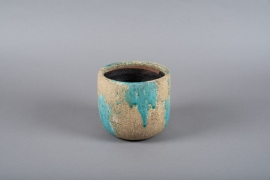 A002ZH Blue ceramic planter D17.5cm H16cm