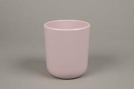 A003A8 Pink ceramic planter pot D13cm H15.5cm