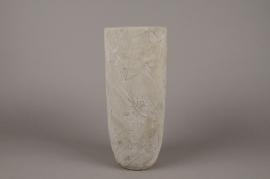 A003AC Vase en béton feuillage gris D14cm H34cm