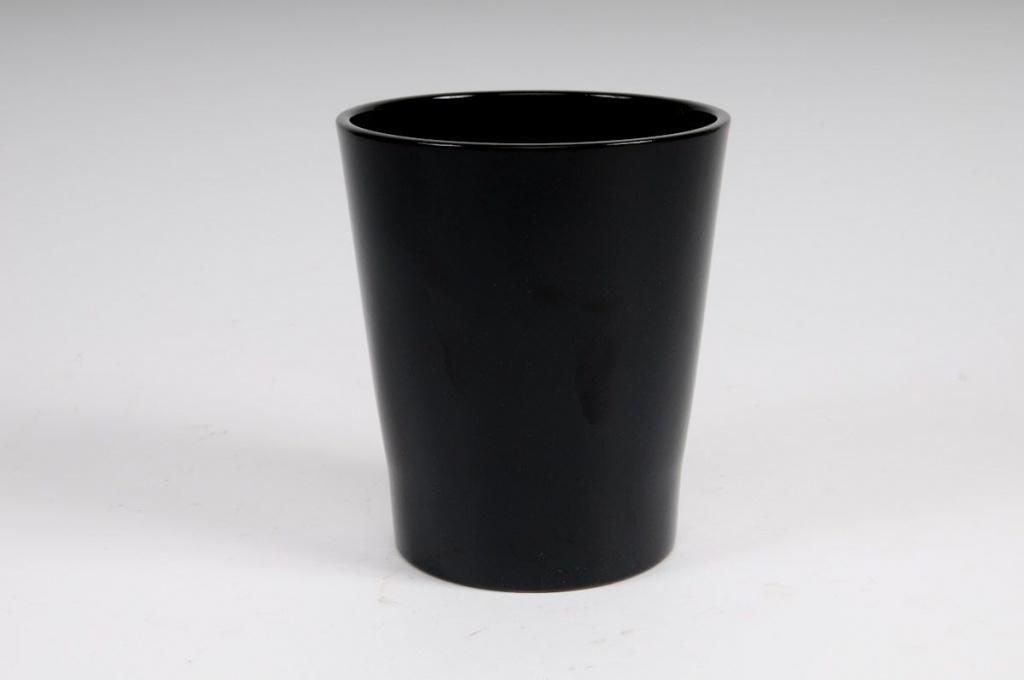 A003DO Cache-pot en céramique à orchidée noir D14 H15cm