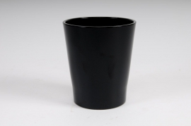 A003DO Cache-pot en céramique à orchidée noir D14 H15cm