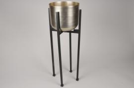 A003E5 Cache-pot en laiton brossé sur pied D21cm H62cm