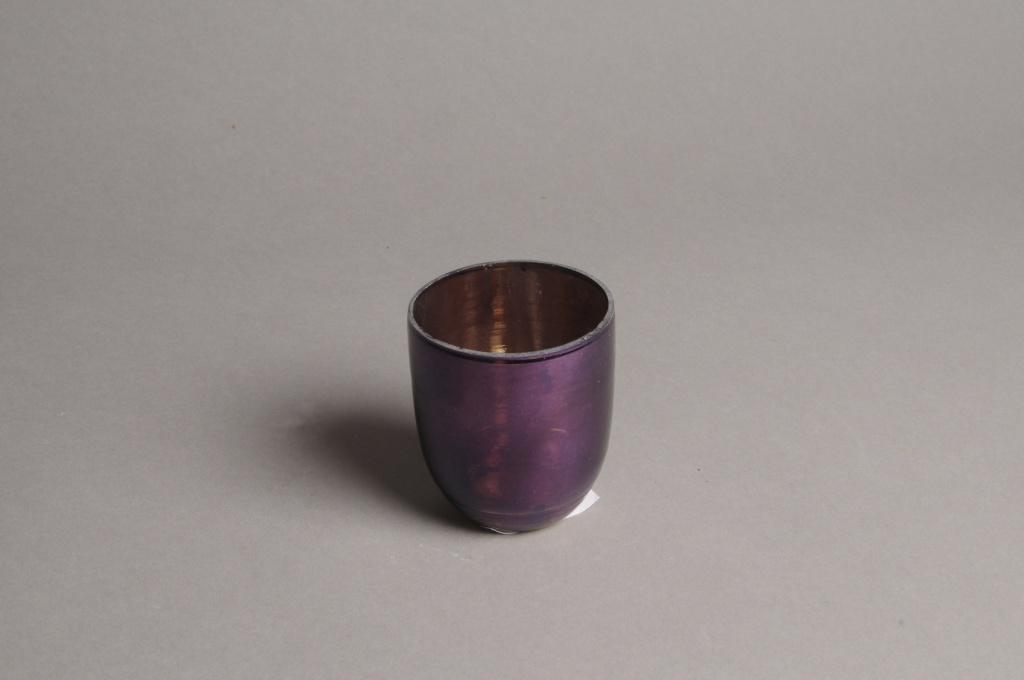 A003G2 Purple glass candle jar D6.5cm H7cm