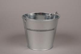 A003G9 Natural bright zinc bucket D18 H16cm