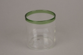 A003H6 Glass jar and green border D8cm H9cm