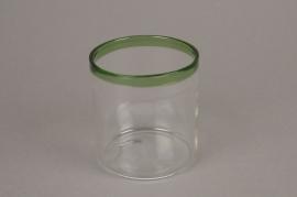 A003H6 Pot en verre liseré vert D8cm H9cm