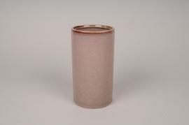 A003J6 Vase en céramique rose D10cm H18cm