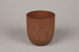 A003JY Cache-pot en métal rouille D11cm H23cm
