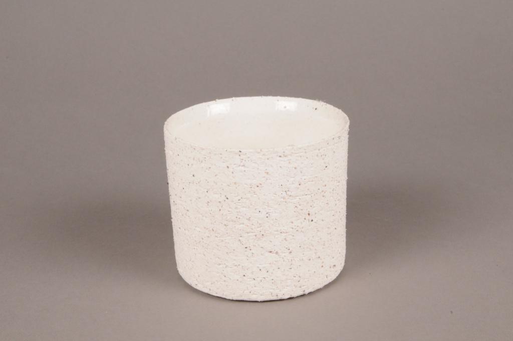 A003N8 Cache-pot en terre cuite blanc D10.5cm H9cm