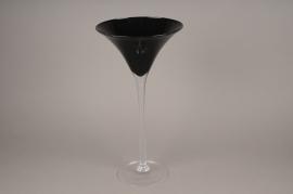 A003NH Vase martini verre noir D26cm H50cm