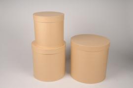 A003O1 Set de 3 boîtes en carton naturel D28cm H28cm