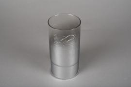 A003O7 Cylindre en verre fumé led D9cm H18cm
