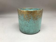 A003OZ Cache-pot en céramique vert D9.5cm H8.5cm