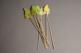 A003PH Pack of 10 picks of wooden leaves H30cm