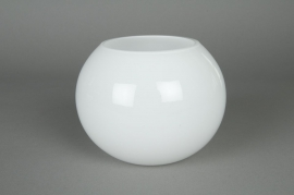 A003PS Glass ball vase white D14,5 H12,5cm