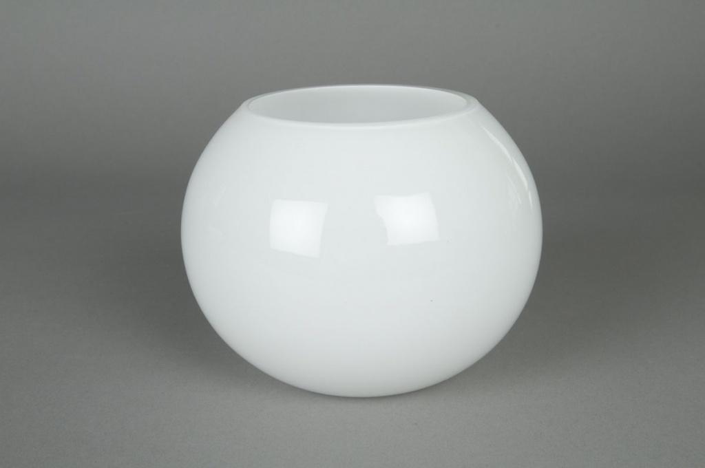A003PS Vase en verre boule blanc D14,5 H12,5cm