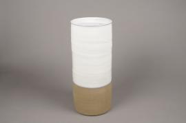 A003Q0  Vase en céramique blanc D19cm H40cm