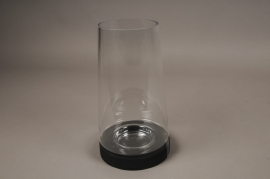 A003T0 Glass candle holder with wooden stand D17cm H30.5cm