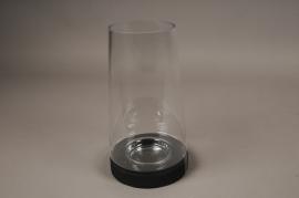 A003T0 Photophore en verre sur socle en bois noir D17cm H30.5cm