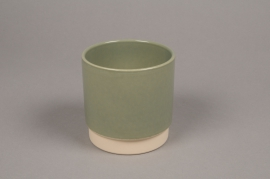 A003T3 Green ceramic planter pot D11cm H11cm