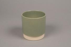 A003T3 Cache-pot en céramique kaki D11cm H11cm