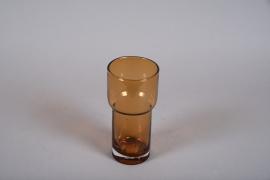 A003W3 Amber glass vase D11cm H22cm