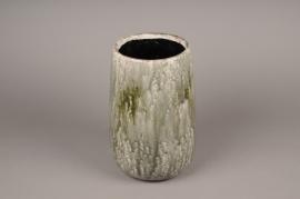 A003W6 Vase en céramique vert D17cm H25cm