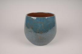 A003XD Cache-pot en céramique bleu D21cm H18.5cm