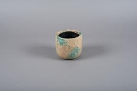 A003ZH Blue ceramic planter D12cm H11cm