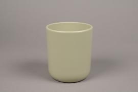 A004A8 Cache-pot en céramique kaki D13cm H15.5cm