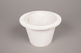 A004AV White wooden pot D12.5cm H10.5cm