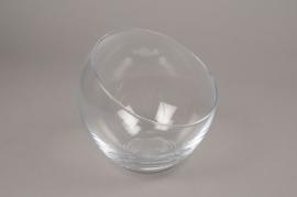 A004H9 Vase boule en verre biseauté D18cm H18cm