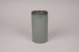 A004J6 Vase en céramique bleu D9.5cm H18cm