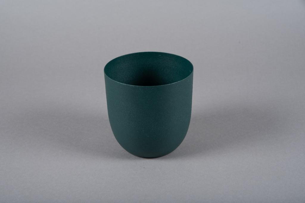 A004JY Cache-pot en métal vert D12.5cm H13.5cm